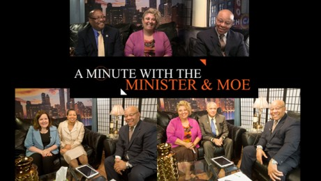 """A Minute With the Minister & Moe. Hosts: Mitchell L. Johnson and Maureen """"Moe"""" Forte. The Judges Show."""